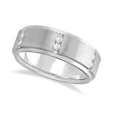 Mens Channel Set Wide Band Diamond Wedding Ring 14k White Gold (... Lot 20161861