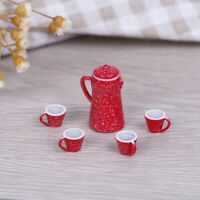 5Pcs 1:12 Dollhouse miniature red kettle cup DIY dollhouse kitchen accessori`JO