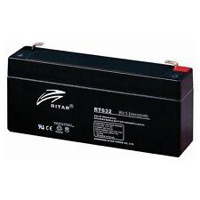 NR.2 LEAD ACID BATTERY RECHARGEABLE 6V 3,2 AH MEASURES 133X33X60mm AGILITY RISCO