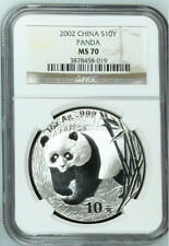 2002 panda 1oz silver coin 10yuan NGC MS70