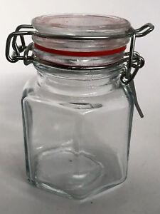 HEXAGONAL GLASS CLIP TOP JAM JAR -  WEDDING FAVOURS - 100ML   ~~  QTY 5 - 60
