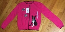 Girls Hartstrings Pink Cardigan Sweater Size 8 With Dog And Bows NWT