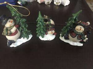 3 Vintage Home Interiors Homco Jolly Snowmen Christmas Tree Figurine Ornaments