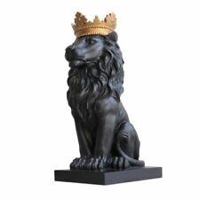 Black Crown Lion Statue Handicraft Decorations Home Garden Sculpture Decor