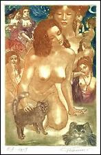 David Bekker 2001 Exlibris C4 Erotic Erotik Nude Nudo Woman Cat Katze Chat b78
