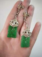 Chinese Antique a Pair Tibetan Silver Hook Earrings Retro Jewelry Natural Jade