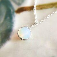 Dainty Moonstone Necklace Sterling Silver 14k Gold/Rose Gold Tiny Simple Pendant