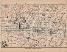 1899 victorien double face carte révolutionnaire de Paris Plan de ville ~ Rhin Quiberon