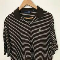 POLO GOLF RALPH LAUREN Short Sleeve M Pima Cotton Stripes Brown White Shirt