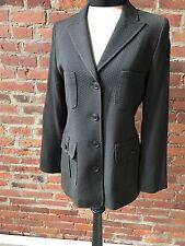 Zenobia Women's Blazer Brown Textured Crop Four Pocket Fitted Wool Blend 6