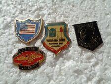 Job lot of 4 US Veterans Military related metal lapel pins