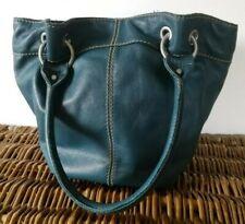 TIGNANELLO Leather Bucket Style Shoulder Bag, Satchel, Tote. Turquoise