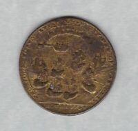 1739 BATTLE OF POTOBELLO BRASS MEDAL IN POOR CONDITION