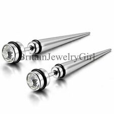 2PCS Mens Unisex Long Spike Punk Stainless Steel W/Rhinestone Ear Stud Earrings