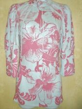 NWOT Lipstick Size S Blue Pink Floral 3/4 Sleeves Stretch Knit Top