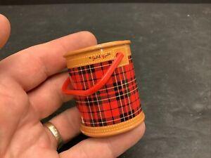"""1950's My Merry Dolly Skotch Kooler 2"""" Miniature Tin Red Plaid Lid Mini Cute!"""