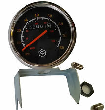 VESPA DUAL READING SPEEDO P125X P150X P200E 120KM/75M BLACK FACE STEEL RING .