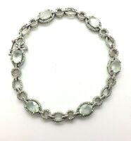 "Designer Blue Topaz Tennis Sterling Silver 925 Bracelet 11g 7"" NEW088"