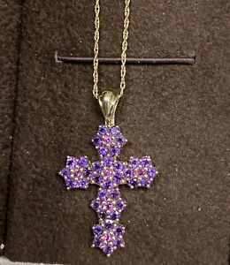 "10k Yellow Gold Women's Natural Amethyst Cross Pendant necklace 14k Chain 20"""