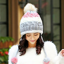 2016 Winter autumn cashmere ball knitted women lady hat ear cover wool cap
