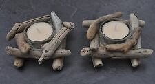 "Driftwood  Nest ""Pair of Tea Light Holders"" Beach Chic Table Centre Window"