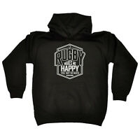 Funny Kids Childrens Hoodie Hoody - Uau Rugby Makes Me Happy You Not So Much