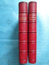 NISARD : DES CHANSONS POPULAIRES, 1867. 2 volumes demi maroquin cerise.