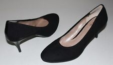 "DKNY 7.5 Black Textile Pumps ULTRACUSHIONED Insoles Stacked 2.75"" Heels"