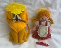 Bucilla WIZARD of OZ Felt Christmas Ornaments Dorothy and Lion Vintage