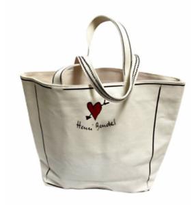 Henri Bendel CANVAS TOTE Beach Gym Bag Carry All White Brown Stripe Large