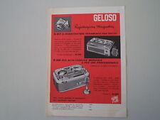 advertising Pubblicità 1961 GELOSO REGISTRATORE G 257/268