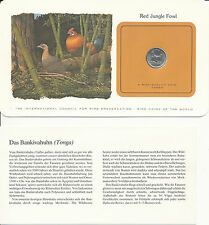 Bird Coins of the World-Tonga 5 seniti 1979 UNC RED JUNGLE Fowl