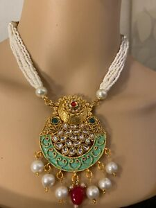 Women  Bollywood Ethnic Gold Plated Pearl Necklace Set Party wear Jewelry