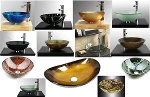 Alderbury Home - Bathroom Clock Room Countertop Tempered Glass Basin Sink