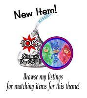 108 PJ Masks Birthday Party Hershey Kisses Stickers Labels Gekko Catboy Owlette