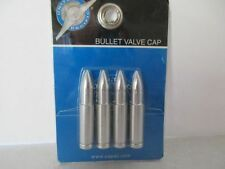 "2-1/8"" LONG Bullet Valve Stem Caps Satin Chrome Aluminum NEW set of 4"