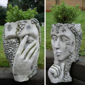 Ornate Head Plant Pot Garden Ornament Head Bust Lawn Planter Sculpture Décor NEW