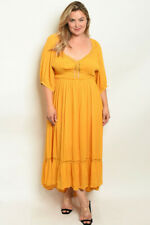 Womens Plus Size Yellow High Low Maxi Dress 2XL Peasant Dress Lace Accent