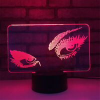 Eyes 3D Night Light 7 Color Change LED Desk Lamp Touch Room Decor