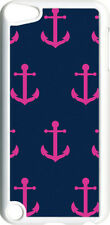 Navy Blue and Pink Anchor Design on iPod Touch 5th Gen 5G White TPU Case Cover