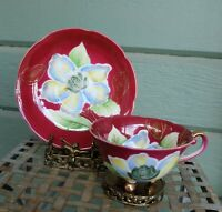 Vintage Occupied Japan Saji Footed Hand Painted Lotus Blossoms Tea Cup & Saucer