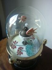 Vintage AUTOMATON GOLD FISH GLASS DOME   wind up clock