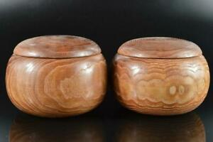 L2576: Japanese Wooden Lacquer ware Word base GO BOX 2pcs