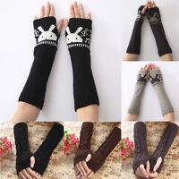 Fashion Women's Knitted Arm Sleeve Fingerless Winter Gloves Soft Warm Mittens