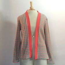 Vintage 60s Americana Polyester Coral Green Beige Striped Cardigan Sz14