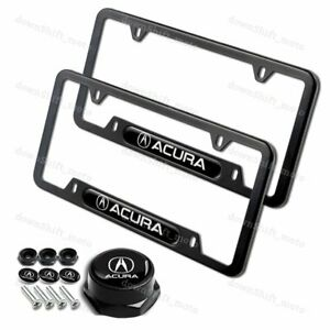 2PCS For ACURA Black Metal Stainless Steel License Plate Frame W/ Caps Bolt SET