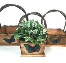 Set of 3 Square Wooden Baskets Woven Twig Handles, Butterfly Decoration Tp88Ob