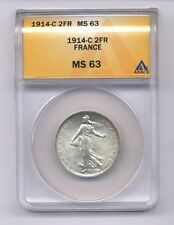 FRANCE  1914-C  2 FRANCS SILVER COIN, CHOICE UNCIRCULATED, ANACS CERTIFIED MS-63