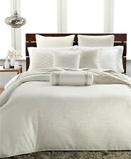 Hotel Collection Full/Queen Duvet Cover Woven Texture Luxurious Off White E96288