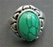AT248* Tribal ethnic Green turquoise coloured faux stone silver tone glass ring